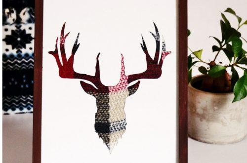 DIY Hirsch Bild Stoffbild, Soffreste verwenden, do it youself hirsch, hirschbild selber machen, DIY mit Hirsch, Hirsch weihnachten, Weihnachtsgeschenke kostenlos, DIY Geschenkideen kostenlos, Kostenlose geschenke selber machen, günstige Geschenke selber machen Hirsch