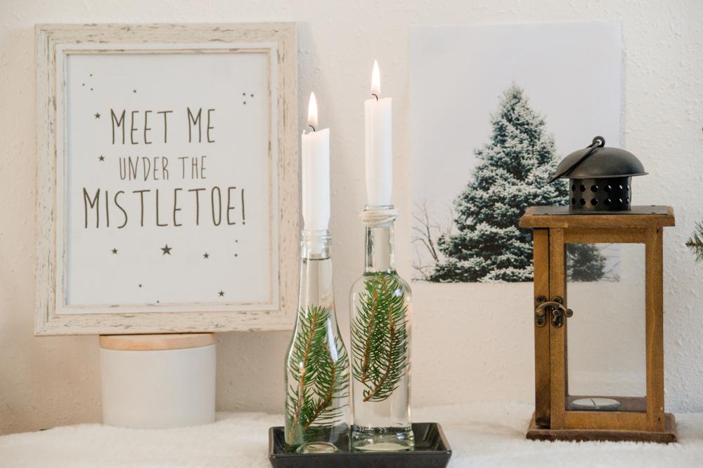 DIY winterlicher Kerzenhalter