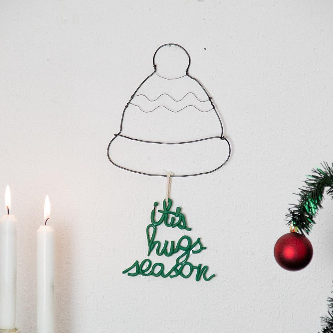 DIY Wandbild aus Draht und Modelliermasse Weihnachtliches Drahtbild basteln ideen (7)