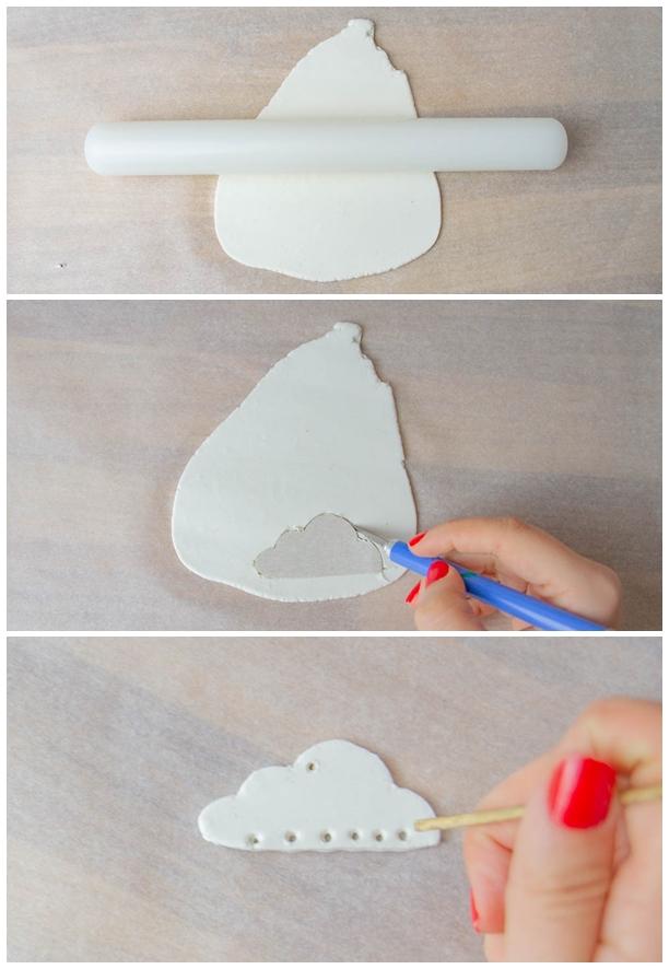 Wolken Anhänger mit Garn aus Modelliermasse - DIY Makreamee Schlüsselanhänger Regenbogen Wolke - Geschenkanhänger idee - Schlüsselamhänger basteln