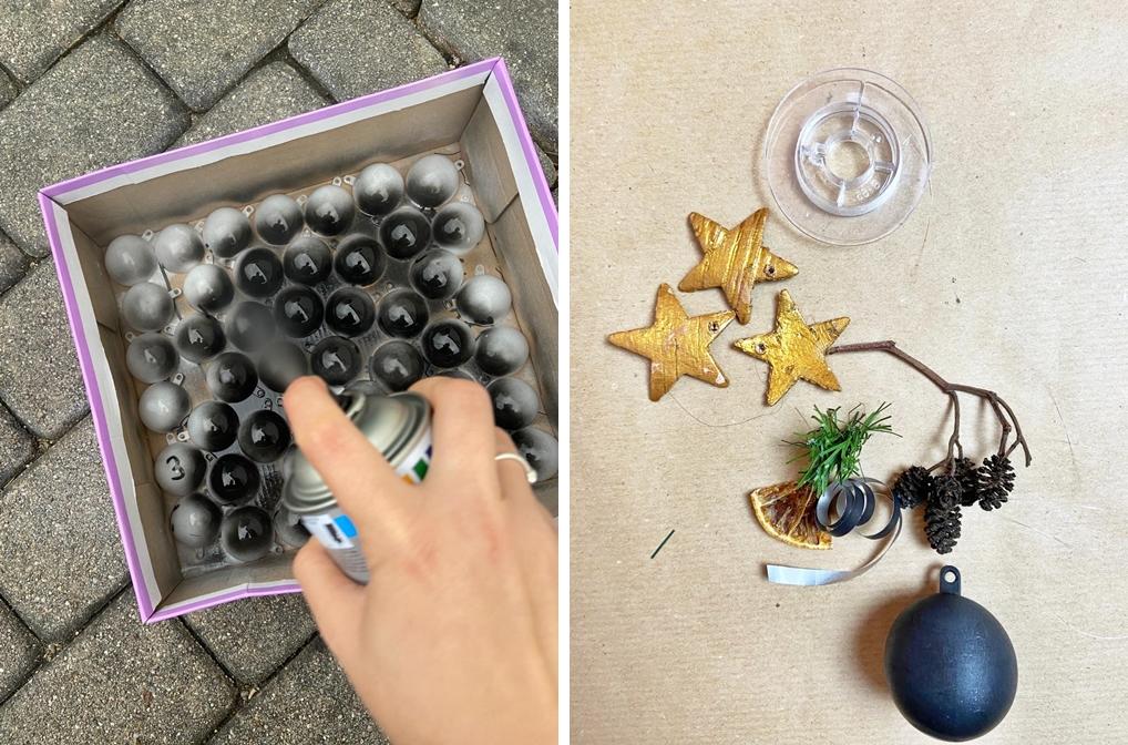 DIY Adventskalender minimalistisch modern mit schwarzen Kugeln und Tannenkranz